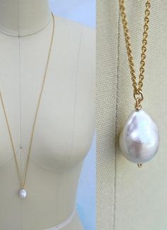 Materials: rare, XL, lustrous mm nucleated baroque freshwater pearl (a.a flameball pearl); Length: with 1 ¼. Blue Sapphire Necklace, Pearl Drop Necklace, Diamond Cross Necklaces, Pearl Pendant, Cross Pendant, Pearl Jewelry, Baroque Pearl Necklace, Baroque Pearls, Simple Necklace
