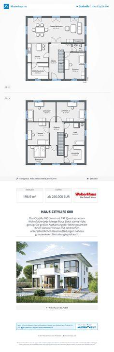 Haus CityLife 600 • Ausbauhaus von WeberHaus • Energieeffizientes Fertighaus mit offener Küche, optionalem Erkeranbau und Zeltdach • Jetzt bei #Musterhaus.net Haus-Kataloge kostenlos anfordern!