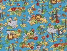 "Kawaii Animal Friends Tropical Island, DIY Fabric for Quilting Crafting Kids Room Decor Curtains Pajamas, 45""W, by the Yard - HPC7095 by gBagHawaii on Etsy"