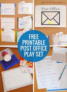 Post Office Play - use Picklebums' free printables to set up your own post office complete with stamps and personal letter boxes! Dramatic Play Area, Dramatic Play Centers, Free Preschool, Preschool Themes, Playgroup Activities, Post Office, Kids Office, Community Helpers Preschool, Play Centre
