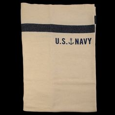 UNIONMADE - Faribault Woolen Mill Co. - Military US Naval Blanket in Cream With Blue Stripes