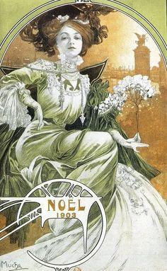 Alphonse Mucha | Noël - 1903.....réépinglé par Maurie Daboux .•*`*•. ❥