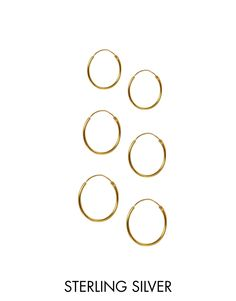 Image 1 of ASOS Multipack Gold Plated Sterling Silver Hoop Earrings