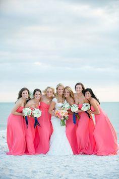 An Elegant Navy and Coral Wedding Indian Wedding Receptions, Wedding Mandap, Coral Colour Palette, Coral Color, Bridesmade Dresses, Wedding Dresses, Wedding Colors, Wedding Styles, Wedding Ideas