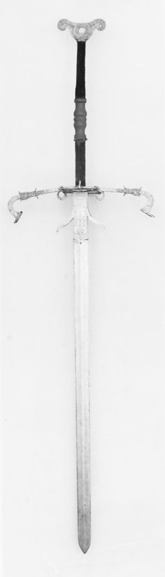 Two-hand processional sword, carried by the guard of Duke Julius of Brunswick, 1573, German, Steel, wood, velvet, Length: 77 in. (195.5 cm), Width: 20 7/8 in (53 cm)