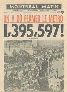 Le Journal de Montréal commémore le cinquantenaire de cet été incroyable. Montreal Ville, Montreal Quebec, Lac Saint Jean, Expo 67, Travel Ads, Fiction Writing, Album Photo, Retro Design, Countries Of The World