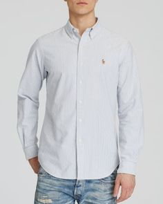 Polo Ralph Lauren Multi-Striped Oxford Shirt - Classic Fit $89.50 Crafted from soft cotton oxford, this button-down sport shirt is designed with a relaxed fit and features a handsome multi-striped pattern.