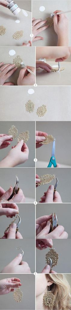 16 Ways to Make Fabulous DIY Earrings - Pretty Designs Diy Lace Earrings, Diy Earrings Tutorial, Lace Jewelry, Fabric Jewelry, Jewelry Crafts, Handmade Jewelry, Fabric Earrings, Diamond Earrings, Diamond Stud