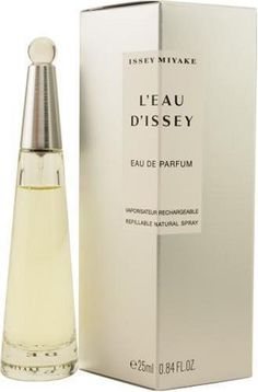 L'eau D'issey By Issey Miyake For Women, Eau De Parfum Spray, Refillable 1.6-Ounce Bottle by Issey Miyake. $62.99. Packaging for this product may vary from that shown in the image above. This item is not for sale in Catalina Island. Launched by the design house of Issey Miyake in 1992, L'EAU D'ISSEY is a women's fragrance that possesses a blend of fresh water florals, a soft, feminine fragrance.  It is recommended for casual wear.When applying any fragrance please cons...