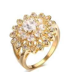 Bishilin 7MM Gold Plated Women Stainless Steel Eternity Ring CZ Cubic Zirconia Crystal Circle Round
