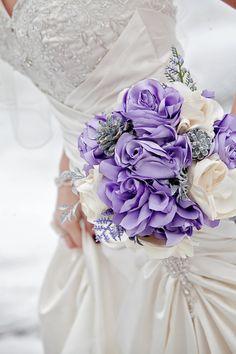 Custom fabric flower wedding bouquets  satin roses  by darlyndax,