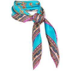 EtroPrinted Silk-satin Scarf (2.280 ARS) ❤ liked on Polyvore featuring accessories, scarves, etro, jewelry, bright blue, etro scarves, print scarves and patterned scarves