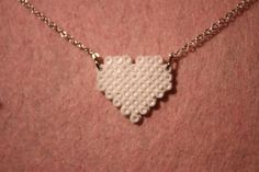 White heart  mini hama perler bead necklace by MyLittleOslo. $7.24