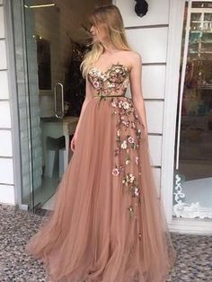 On Sale Light Champagne Party Dress A-Line Sweetheart Sweep Train Champagne Prom Dress With Appliques A Line Prom Dresses, Tulle Prom Dress, Dress Up, Formal Dresses, Long Dresses, Party Dresses, Maxi Dresses, Dance Dresses, Wedding Dresses