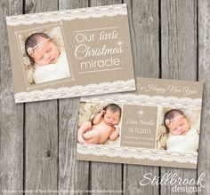 Birth Announcement Template - Christmas Card - Kraft Lace Newborn Announcement - BA01