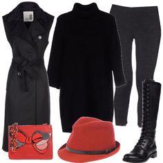 Un paio di leggings vengono indossate con un pullover a collo alto lungo e con un soprabito senza maniche. Le scarpe sono degli stivali alti, senza tacco e con i lacci. Il rosso è il colore degli accessori: la borsa a tracolla ed un simpatico cappello.