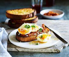 Soft-boiled eggs with 'nduja recipe - Gourmet Traveller Breakfast Desayunos, Breakfast Recipes, Breakfast Dishes, Breakfast Ideas, Egg Recipes, Gourmet Recipes, Pizza Recipes, Nduja Recipe, Sandwiches