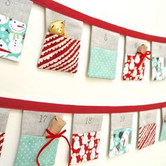 handmade bunting advent calendar ~ snowmen by sew sweet violet Christmas Makes, Noel Christmas, Winter Christmas, Handmade Christmas, Christmas Candles, Modern Christmas, Scandinavian Christmas, Christmas Stockings, Christmas Sewing Projects