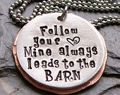 Hand stamped Horse Quote Necklace for by EquineExpressionsbyD