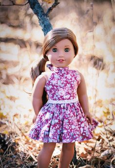 How to Sew Halter Dress for your 18 inch Dolls – Free Pattern (Free Sewing Pattern for American Girl Dolls) American Girl Outfits, Ropa American Girl, American Girl Dress, American Doll Clothes, Ag Doll Clothes, American Doll Stuff, American Girl Doll Lea, Sewing Dolls, Ag Dolls