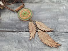 Long leather necklace. Feather necklace. Tribal by VelmaJewelry