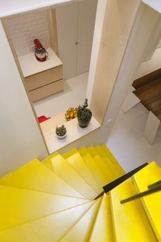 Sam De Bruyn House for De Standaard Magazine – samgilbert. Yellow Stairs, Plywood House, Timber Staircase, Loft Stairs, Design Thinking, Box Design, Color Splash, Architecture, Magazine