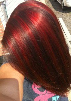Red highlights! Brown hair! Love! Red Brown Hair, Burgundy Hair, Red Hair Color, Cool Hair Color, Brown Hair Colors, Dark Hair With Highlights, Color Highlights, Birthday Hair, Auburn Hair