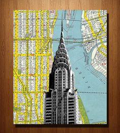 Chrysler Building & NYC Vintage Map Art Print