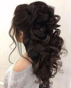 Really adore this hairstyle! #mediumlengthweddinghairstyles Wedding Hairstyles Half Up Half Down, Simple Wedding Hairstyles, Easy Hairstyles, Prom Hairstyles, Popular Hairstyles, Quince Hairstyles, Hairstyle Ideas, Half Updo, Elegant Hairstyles