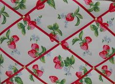 Medium Cath Kidston White Strawberry Hand Crafted Fabric Notice / Pin / Memo Board