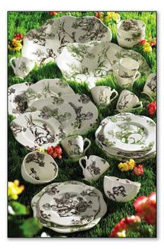 BUNNY TOILE TABLEWARE  I love the green !!!
