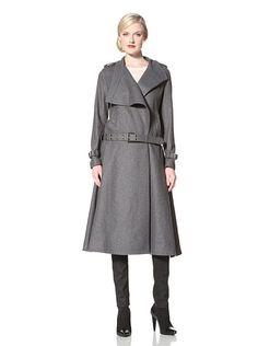 L.A.M.B. Women's Mid-Calf Asymmetrical Coat