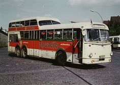 Büssing/Ludewig one-and-a-half deck bus operating in Essen, Ruhr Area, Germany as vehicle no. Vw Bus, School Bus Camper, Coach Travel, Strange Cars, Tramway, Color Plan, U Bahn, London Bus, Transporter