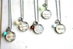 Turn favorite sayings into a necklace with mod podge and glass pebbles. i have made similar with childrens craft sessions at work, the flat glass pebbles look good with pictures too Cute Crafts, Crafts To Make, Craft Gifts, Diy Gifts, Jewelry Crafts, Handmade Jewelry, Women's Jewelry, Jewelry Ideas, Bijou Box