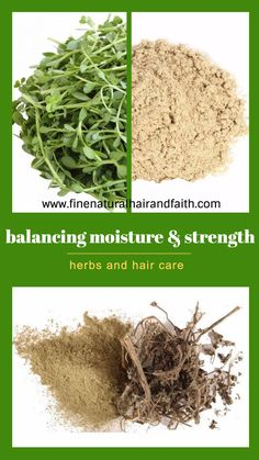 List of natural herbs that balance out moisture and strength. How to use herbs for hair care to moisturize and strengthen fine natural hair. Fine Natural Hair, Natural Hair Care, Natural Hair Styles, Fine Hair, Ayurvedic Hair Care, Ayurvedic Herbs, Ayurvedic Recipes, Herbs For Hair Growth, Healthy Hair Growth