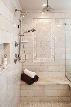 Emser Tile Crema Marfil 1 x 12 Marble Bullnose Tile Trim in Crema Marfil Classic Master Bathroom Shower, Small Bathroom, Bathroom Ideas, Shower Ideas, Bathroom Showers, Master Bathrooms, Bathroom Organization, Bathroom Storage, Bathroom Shower Remodel