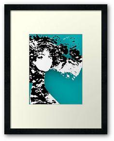 LADY SILEX Framed Print  by Pia Schneider #art #illustration #lady #femal #women #face #artprint #turquiose #black #white #walldecor #home #framed
