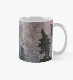 Northern Lights Mug Snowy Woods, Snowy Forest, Snowy Trees, Snow Fairy, Winter Fairy, Nature Artwork, Nature Paintings, Beard Winter, Christmas Art
