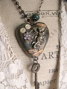 Handmade Mixed Media Jewelry Altered Necklace Vintage by QueenBe