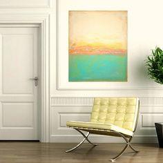 "Original Abstract Painting Fine Art on GAllery Canvas Titled: Vintage Love 30x36x1.5"" by Ora Birenbaum. $345.00, via Etsy."