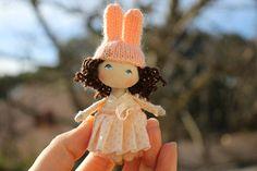 Dollhouse doll, miniature doll, fabric doll, easter gift, bunny rabbit doll, tiny doll, petite poupée, poupée de chiffon