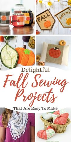 Delightful Fall Sewing Projects That Are Easy to Make - Orange Bettie Fall Sewing Projects, Diy Craft Projects, Quilting Projects, Sewing Crafts, Good Tutorials, Sewing Tutorials, Sewing Ideas, Sewing Patterns Free, Free Sewing