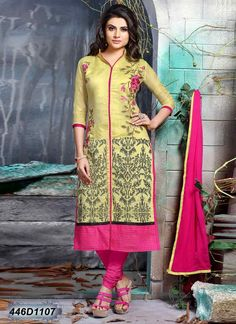 36b81eda013 Dark Yellow Chanderi Cotton Casual Salwar Kameez