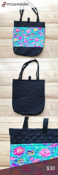 """NWOT Ocean Themed Quilted Art Supply Tote Bag NWOT large quilted tote bag perfect for toting art supplies or anything else you can think of! Black Quilted bag with aquatic themed fish pattern exterior pockets. Velcro strap closure. 19""""H x 19""""W x 5""""D with 15"""" drop strap Bags Totes"""