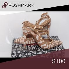 ELEGANT NEW  ❤️🎀❤️ SHOE REPUBLIC LA Brown stripe ELEGANT SHOE REPUBLIC LA Brown Stripe Shoes Heels