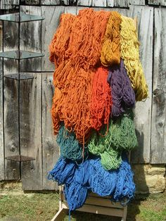 I dyed this wool rug yarn with natural dyes....all 26 pounds of it.