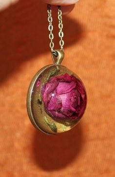 Real Dried Rose Cabochon Bronze Chain Glass Resin Pendant Necklace Jewelry #Handmade #Chain