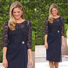 Großhandel 2015 short marine-Blau-Mutter der braut-Kleid-Hülle jewel 3/4 ärmeln lace knielangen chiffon abend-formale kleid-Weinlese-Sheer kleider, $83.77 auf De.dhgate.com | DHgate