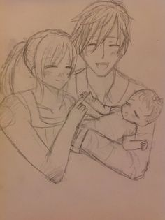 Ok so .... Makoto , his wife  and their baby girl ..... Don't ask who the wife is XD it kinda looks like gou .... But ..idk