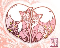 """""""Foxy Valentine"""" is a set of two cute pink fox enamel pins that fit together to form the shape of a heart. Display them together, or keep one half of the set and give the other to someone you love this Valentine's day! Specifications: -Two separate pins! -Double clutch -Metal"""